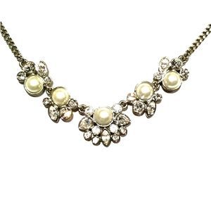 Givenchy Silver-tone Faux Pearl & Crystal Necklace